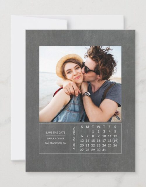 Minimal Modern Mini Calendar Save the Date Photo