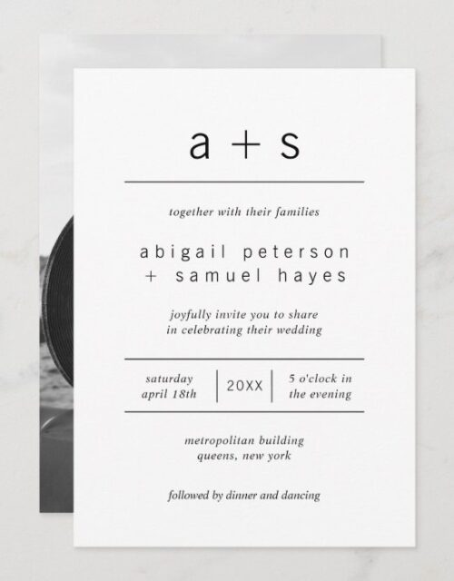 Minimalist Black and White Monogram Photo Wedding Invitation