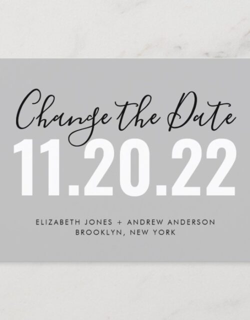 Minimalist Change of Date Wedding Postponement Announcement Postcard