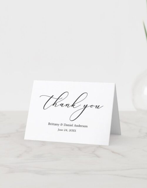Minimalist Elegance Calligraphy Note Thank You Card