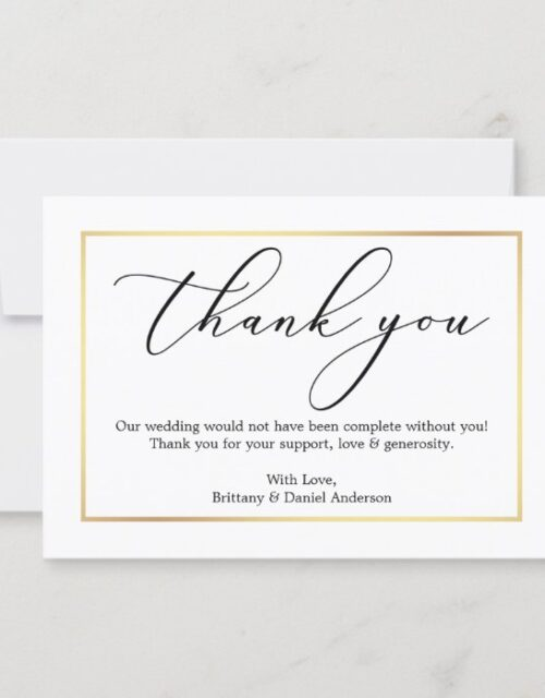 Minimalist Elegance Calligraphy Wedding Gold Frame Thank You Card