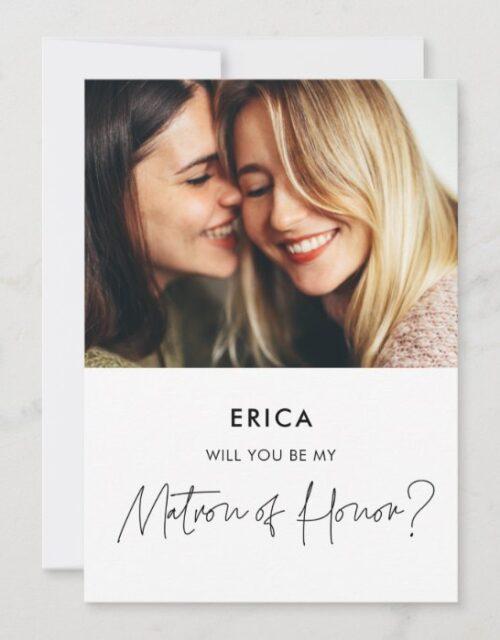 Minimalist Matron of Honor proposal photo card