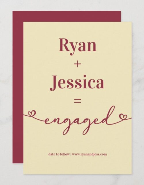 Minimalist Typography Champagne Red Engagement Announcement