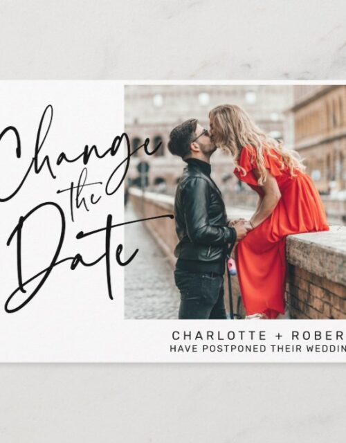 Minimalist white photo wedding change the date announcement postcard