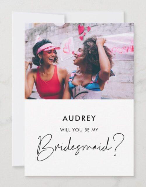 Minimalist Will you be my bridesmaid photo card