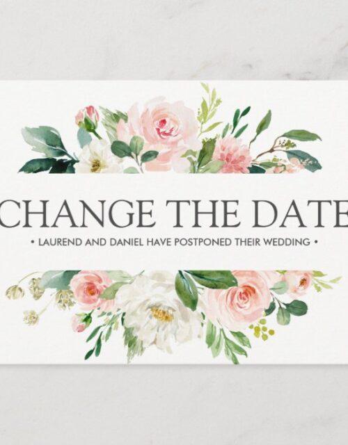 Modern Blush  | Pink WEDDING CHANGE THE DATE Announcement Postcard