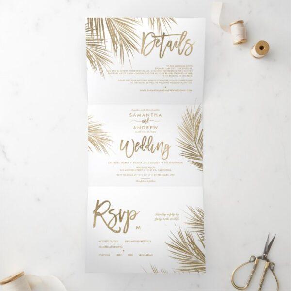 Modern chic gold palm tree elegant wedding Tri-Fold invitation