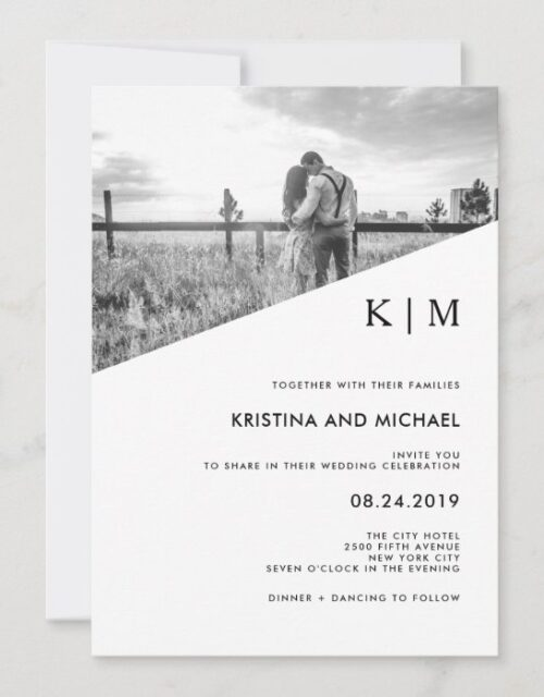Modern Diagonal   Photo Wedding Invitation