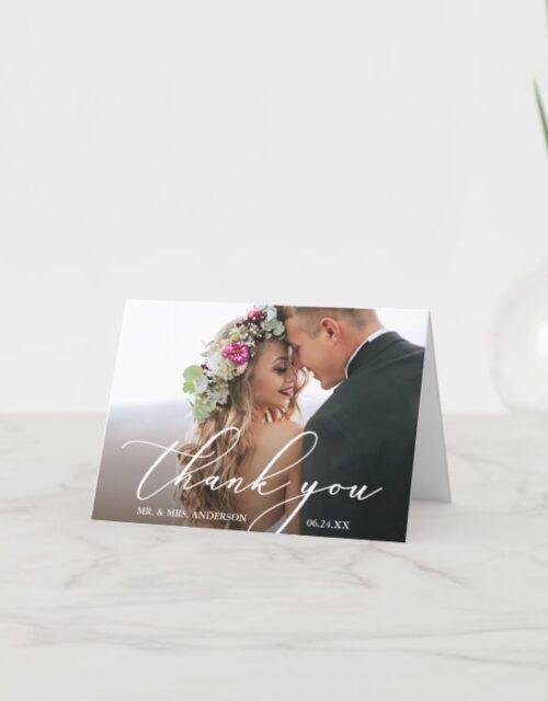 Modern Elegant Calligraphy Wedding Note Thank You Card