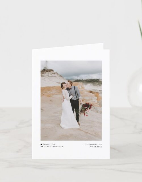 Modern Minimalist Typography Photo Wedding Thank You Card