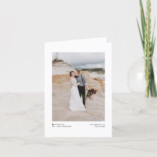 Modern Minimalist Typography Photo Wedding Thank You Card