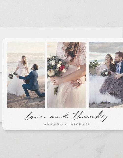 Modern Multi Photo Collage Love and Thanks Wedding Thank You Card