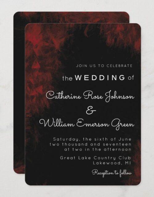 Modern Passionate Red 'n Black Wedding Invitation