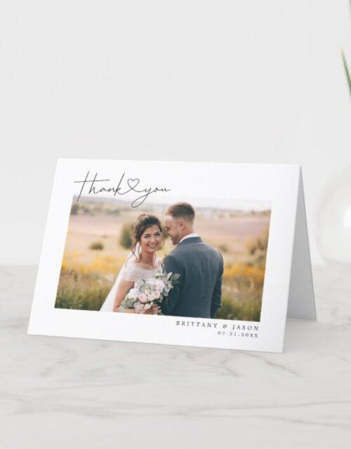 Modern Script Heart Wedding Photo Thank You Card