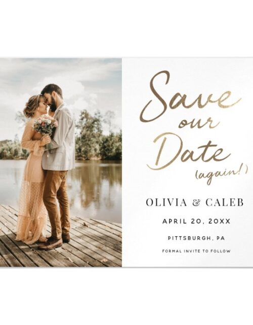 Modern Wedding Save our Date Again Magnetic Magnetic Invitation