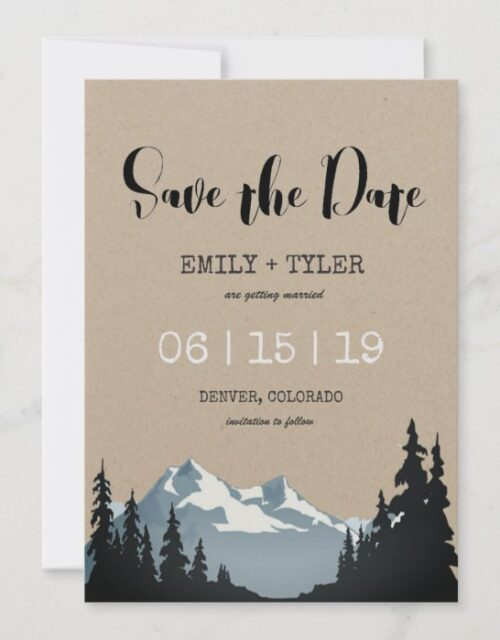 Mountain Woodland Forest Wedding Save The Date Invitation