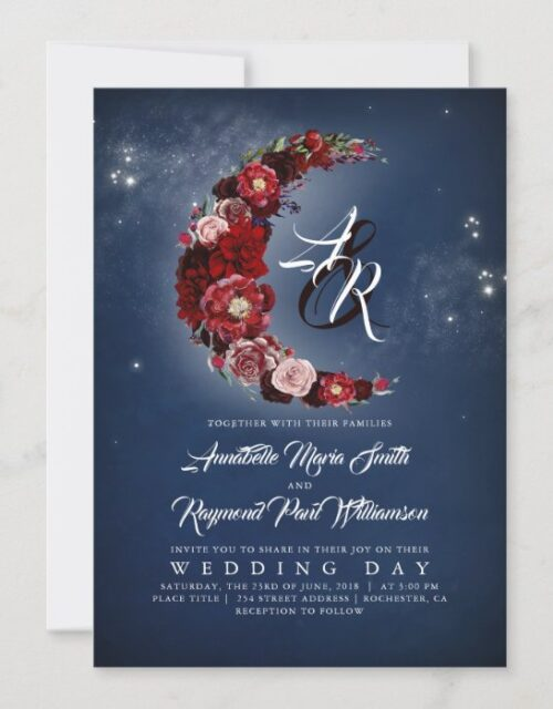 Navy and Burgundy Floral Starry Night Moon Wedding Invitation