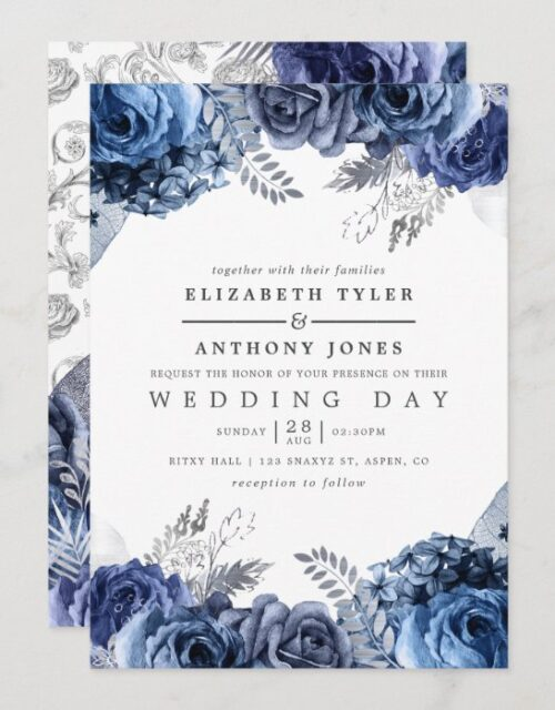Navy and White with Silver Foil Floral Wedding Invitation