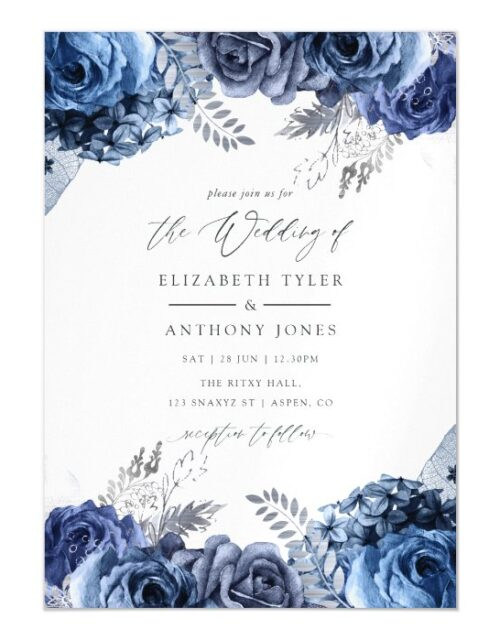 Navy and White with Silver Foil Floral Wedding Magnetic Invitation