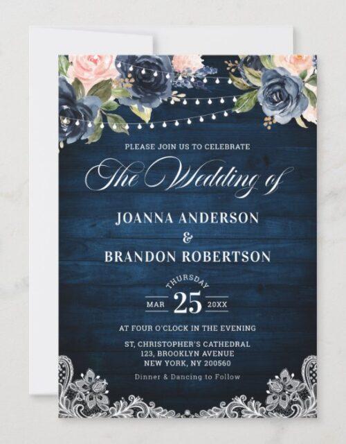 Navy Blue Blush Floral Rustic String Light Wedding Invitation