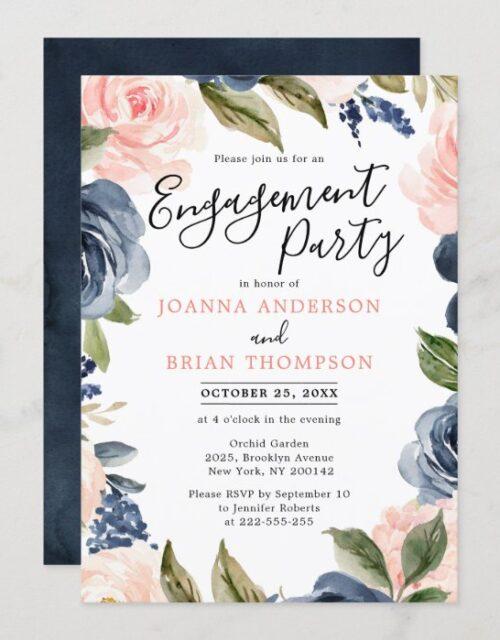 Navy Blue Blush Pink Rose Boho Engagement Party Invitation