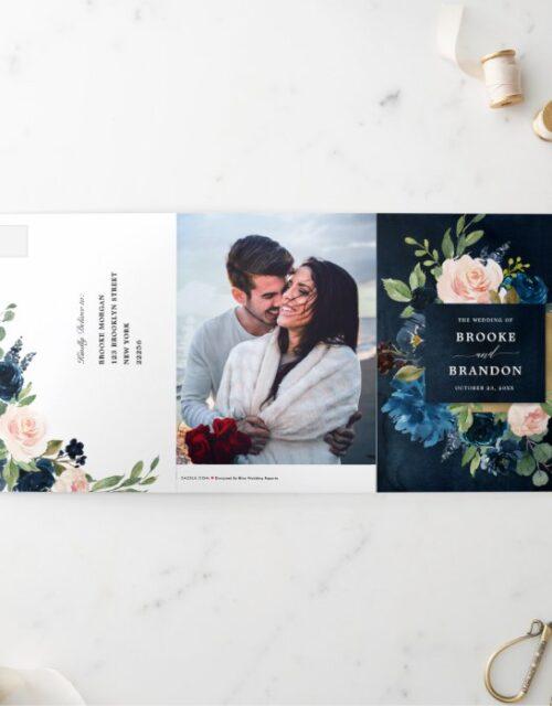 Navy Blue Blush Pink Trifold Wedding Invitation