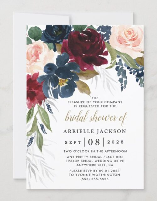 Navy Blue Burgundy Blush Pink Floral Bridal Shower Invitation