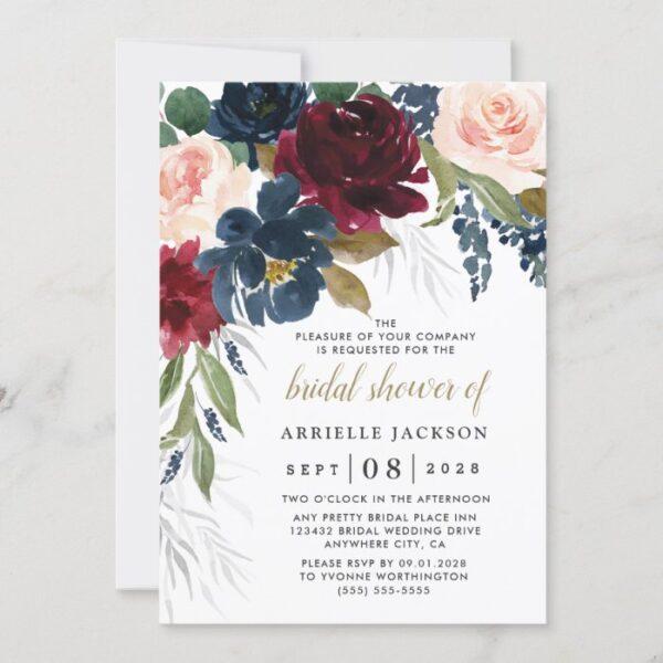 Navy Blue Burgundy Blush Pink Floral Bridal Shower Invitation