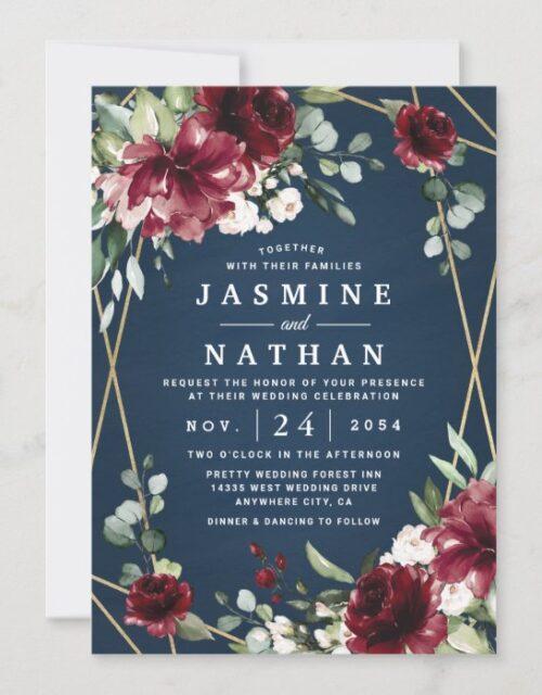 Navy Blue Burgundy Blush Pink Gold Floral Wedding Invitation
