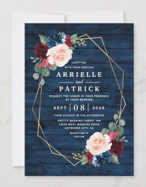 Navy Blue Burgundy Gold Blush Pink Country Wedding Invitation
