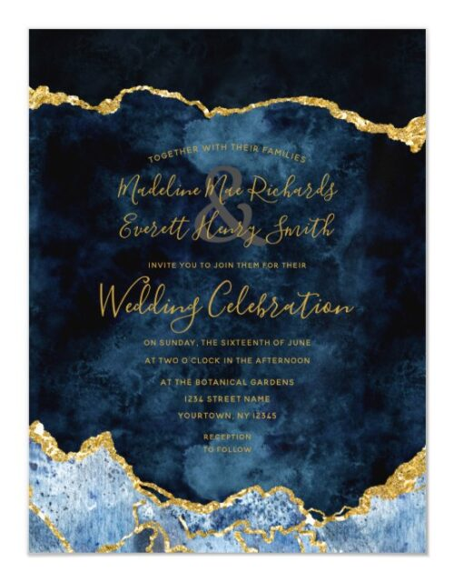 Navy Blue Gold Foil Agate Gilt Wedding Invitation