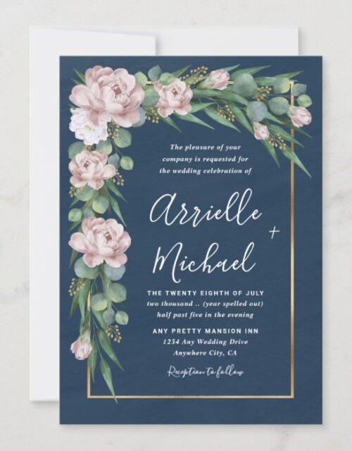 Navy Blue & Pink Dusty Rose Greenery Gold Wedding Invitation