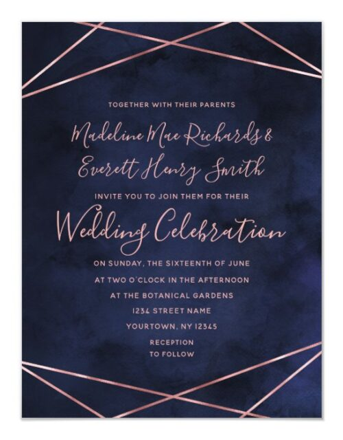 Navy Blue & Rose Gold Magnetic Wedding Invitation