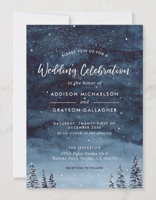 Navy Blue Snowy Winter Wonderland Wedding
