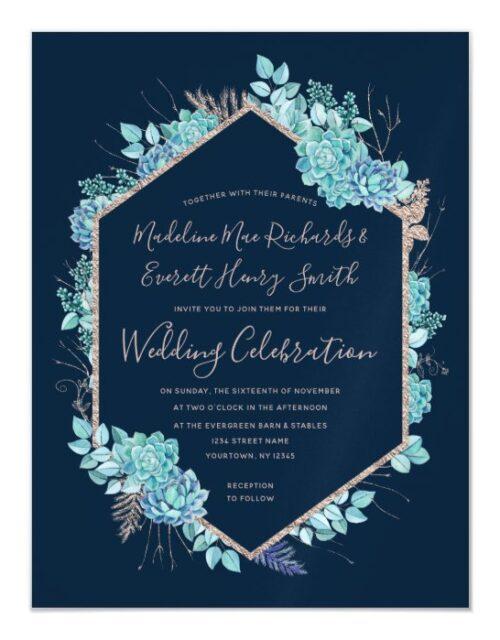 Navy Blue Succulents Magnetic Wedding Invitation