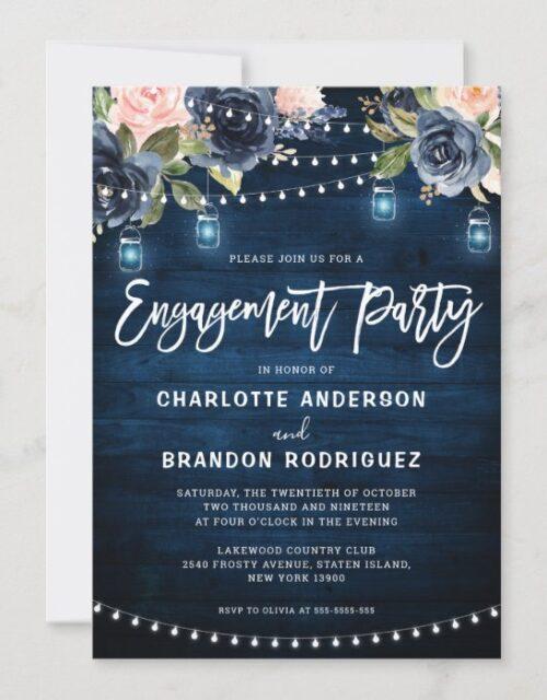 Navy Blush Floral Rustic String Light Engagement Invitation