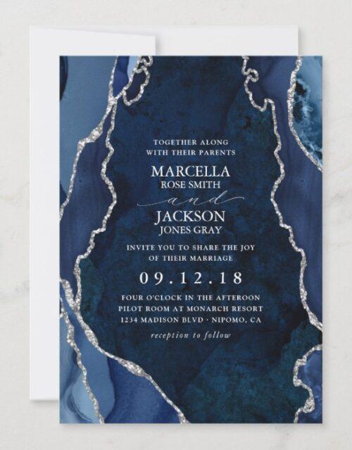 Navy Marble & Silver Agate Wedding Invitation