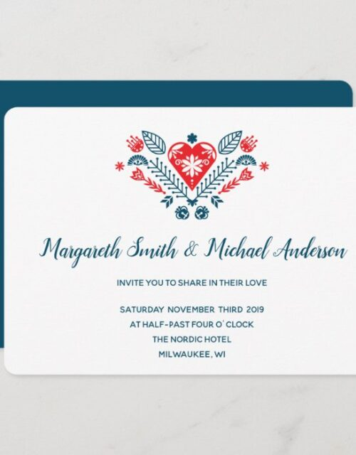 Nordic Love in red and blue   Wedding Invitation