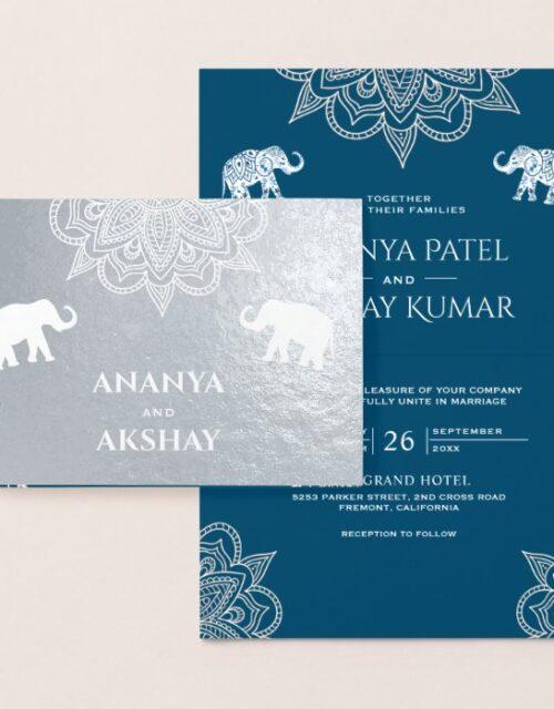Ocean Blue Henna Indian Wedding Invitation