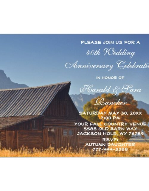 Old Mountain Fall Country Barn Wedding Anniversary Magnetic Invitation
