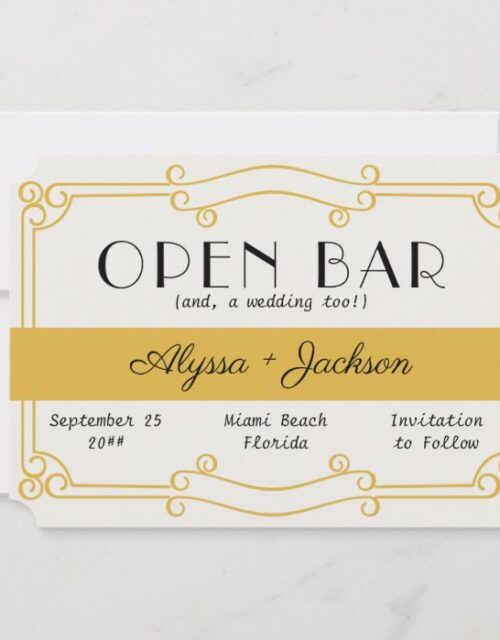Open Bar Art Deco Ochre Yellow and Grey Save The Date