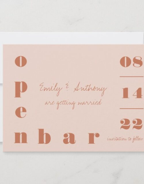 Open Bar Oversized Typography Warm Clay Save The Date