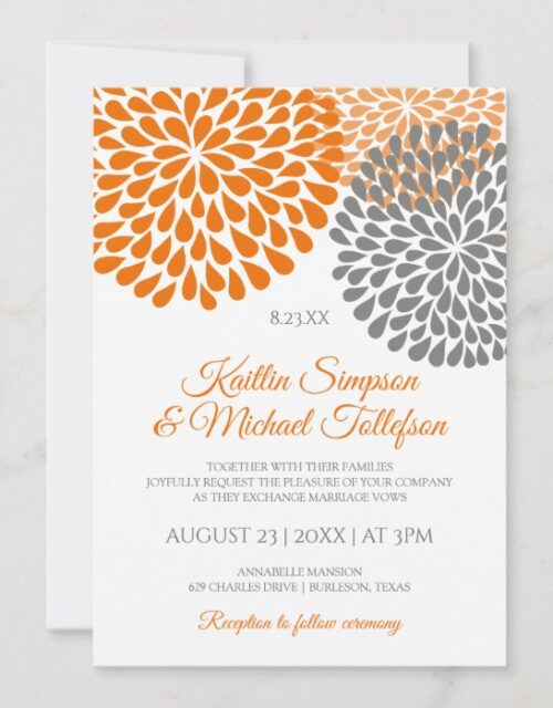 Orange & Gray Wedding Invitations | Floral & Fun