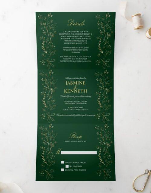 Ornate Gold Floral Swirls on Dark Green Wedding Tri-Fold Invitation