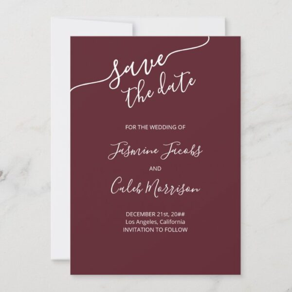 Photo and White Script Burgundy Wedding Save The Date