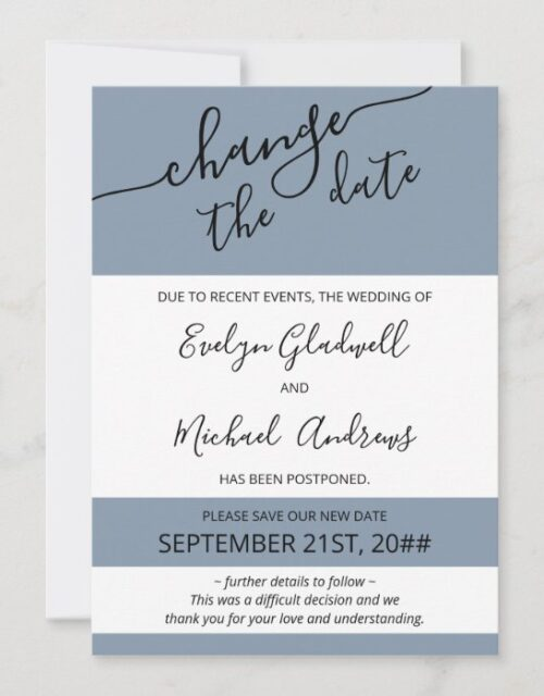Photo Change the Date Blue Rescheduled Wedding Announcement