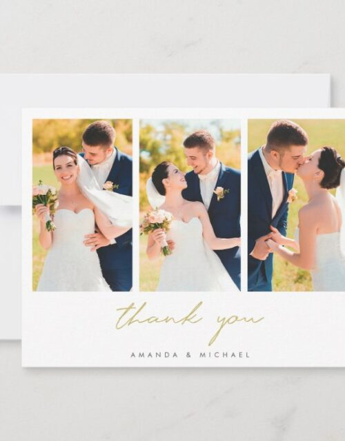 Photo Collage Simple Elegant Modern Gold Wedding Thank You Card