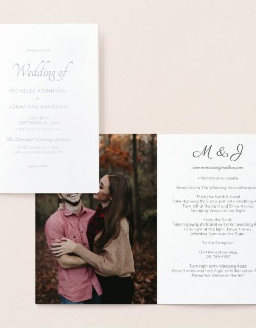Photo & Gold or Silver Foil Wedding Foil Card