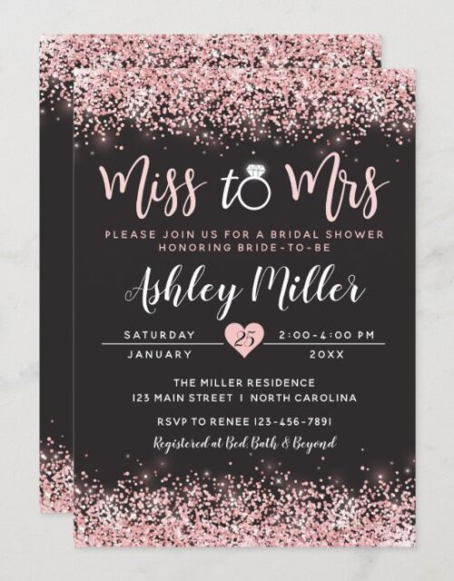Pink & Black Bridal Shower Invitation, Engagement Invitation