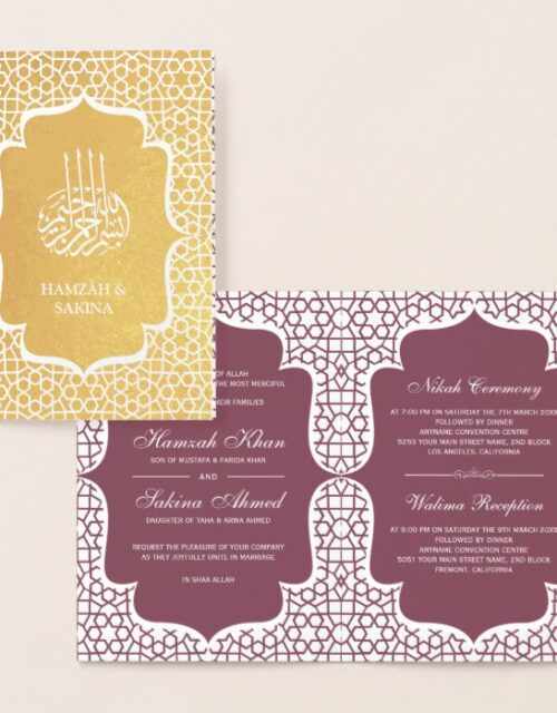 Pink Persian Gold Foil Muslim Wedding Invitation